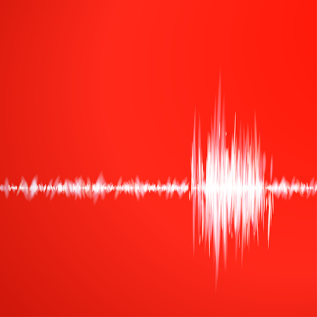 Absctract red background with graph of sound Vector
