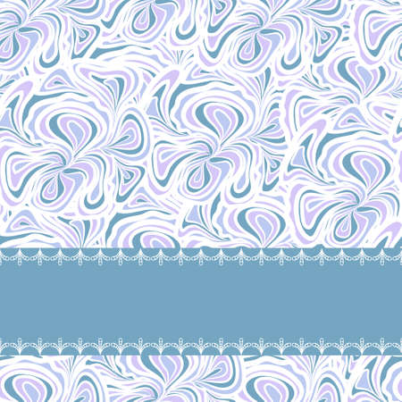 calm background: Abstract seamless pattern with light blue floral design and stripe for text