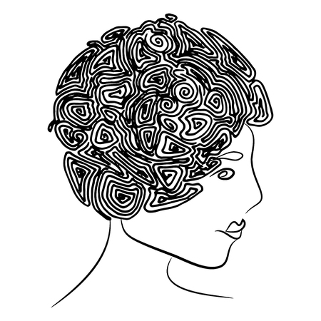 ringlet: Profile of young woman with curly coiffure Illustration