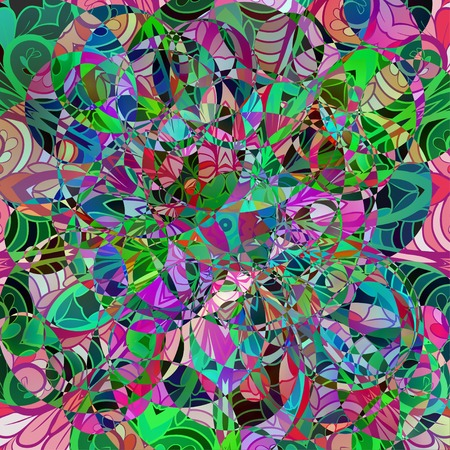 chaotic: Abstract chaotic colorful pattern with floral elements Illustration