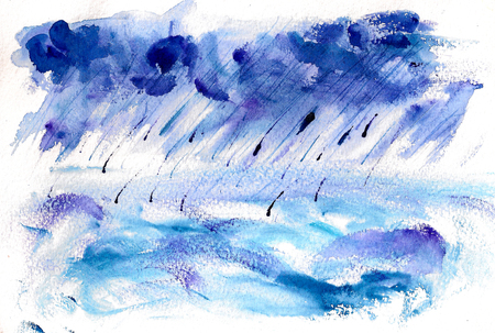 Watercolor image of shower rain over the sea or ocean