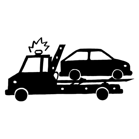 wrecker: Ink image of wrecker with car on white background