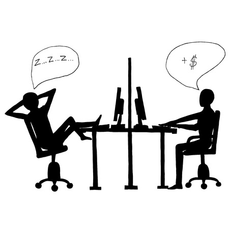 indolence: Ink image with lazy employee and workaholic