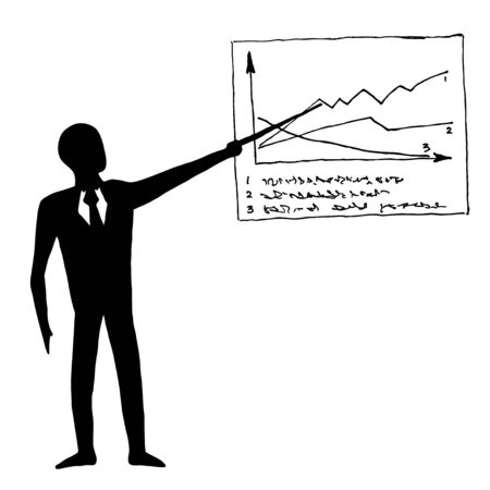 reckon: Black and white image of businessman with graph