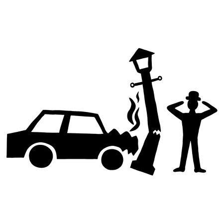 lamppost: Ink image of car accident with lamppost