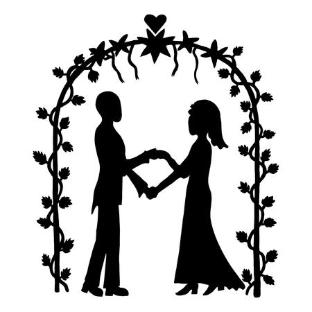 getting married: Ink image of couple getting married on outdoor wedding ceremony