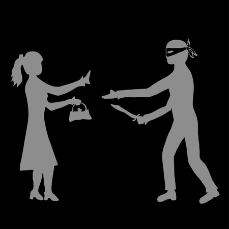 awfully: Man with knife taking handbag from woman