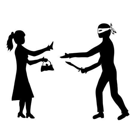 literary man: Man with knife taking handbag from woman
