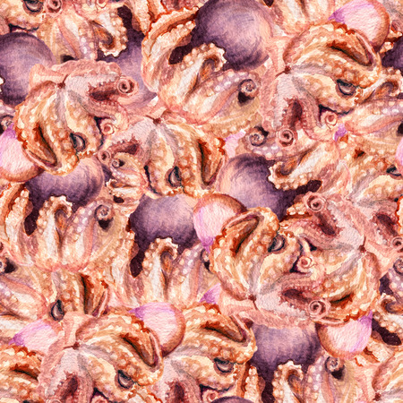 heaps: Watercolor seamless background with heaps of octopuses Stock Photo