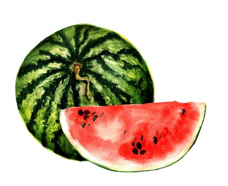 Watercolor image of whole watermelon and slice of watermelon on white background Stock Photo