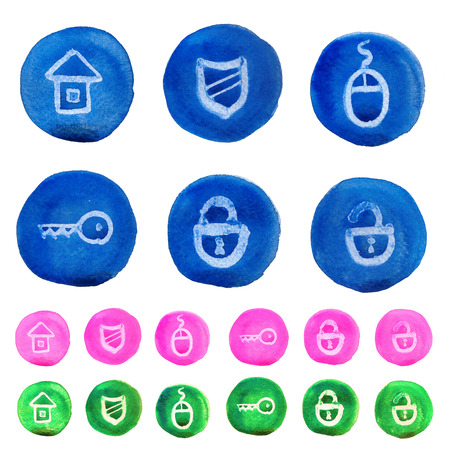 Set of watercolor security signs like as buttons Stock Photo