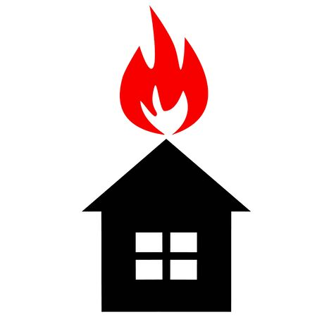 ruined house: Black silhouette of house with red flame like as conflagration Illustration