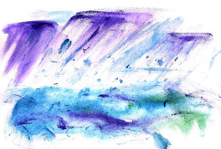 monsoon clouds: Watercolor image of storm and shower rain over the sea or ocean