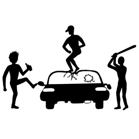 Three rowdy young men destroy a car