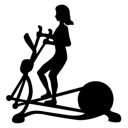 Black and white image of young woman doing exercises on elliptical trainer Illustration