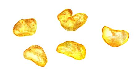 Watercolor image of potato chips on white background Stock Photo