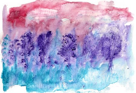 Watercolor image of sunset or sunrise in the forest
