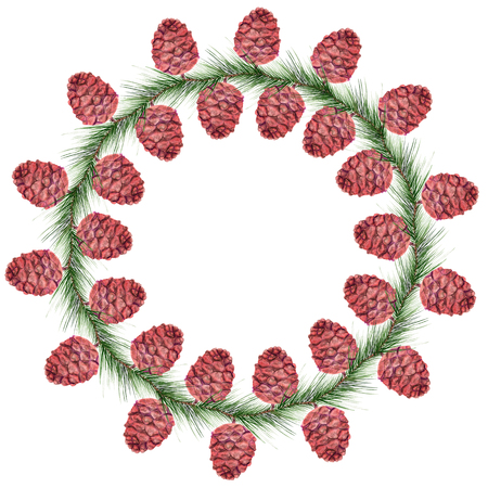 circle objects: Watercolor image of wreath with cedar cones