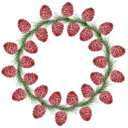 Watercolor image of wreath with cedar cones
