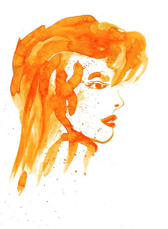 Watercolor image of portrait of red woman on white background
