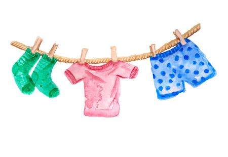 Watercolor image with clothesline with t-shirt, socks and pants on white background Stockfoto