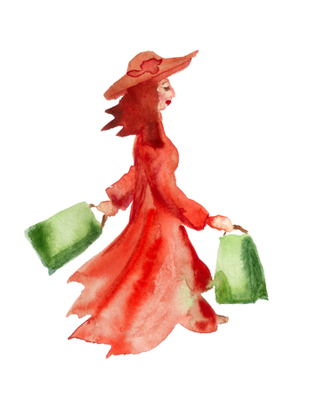 Watercolor image of woman walking with shopping bags on white background