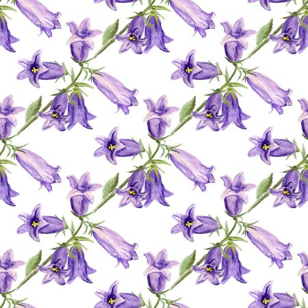 single flower: Seamless pattern with watercolor garden bluebells on white background. Good design for textile, wallpaper, backdrop, casing-paper etc.