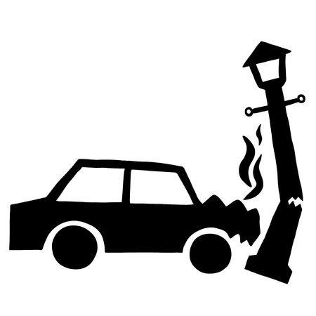 drunk driving: Ink image of car accident with lamppost