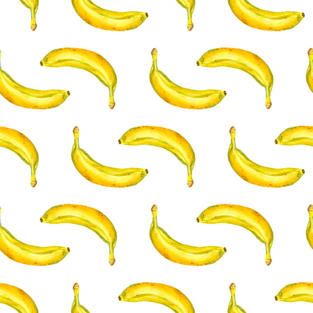 watercolor seamless pattern with bananas on white background Stock Photo
