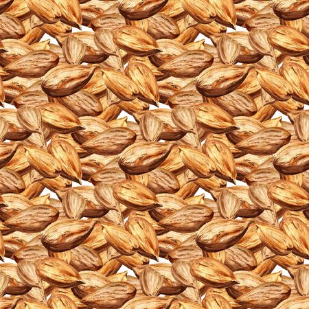 Seamless pattern with watercolor almonds Stock Photo