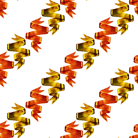 textile image: Seamless pattern with watercolor image of orange and gold ribbons on white background. Good design for textile fabric design, wrapping paper and website wallpapers. Stock Photo