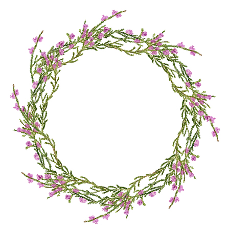 Round frame with watercolor image of heather on white background. Good idea for cards, wedding invitation, posters, save the date or greeting design. Summer flowers with space for your text. Foto de archivo