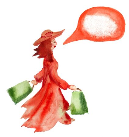 Watercolor image of woman walking with shopping bags on white background. Image has speech bubble for your text.