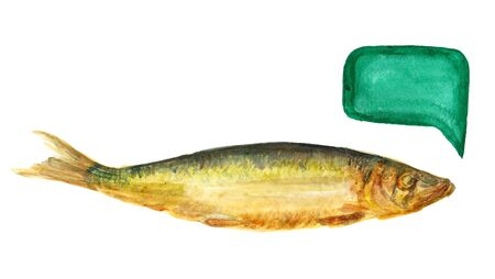 Watercolor image of smoked baltic herring on white background.  Image has speech bubble for your text.