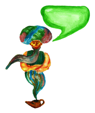 Watercolor image of genie coming out of a magic lamp on white background.  Image has speech bubble for your text. Stock Photo