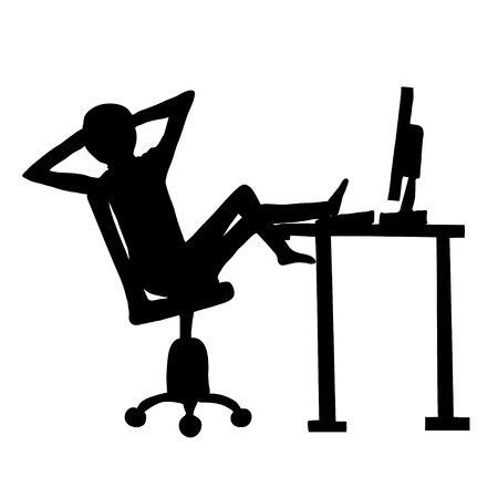 Lazy employee and computer. Illustration