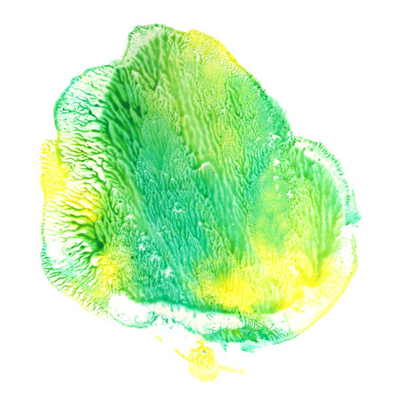 Abstract watercolor background. Isolated on white. Green and yellow monotype. Hand drawn ink illustration.