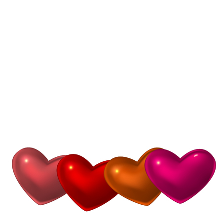Four red glass hearts on white background. Romantic or health concept.