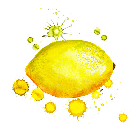 Watercolor image of lemon with paint blots on white background