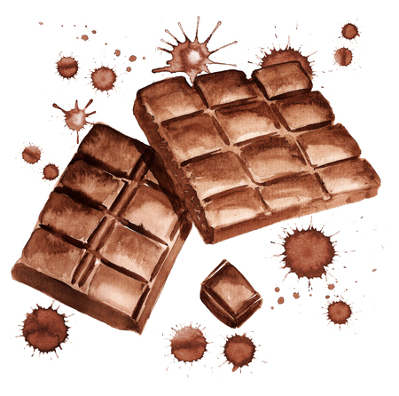 Waterverf beeld van stukken chocolade met verf blots op witte achtergrond Stockfoto