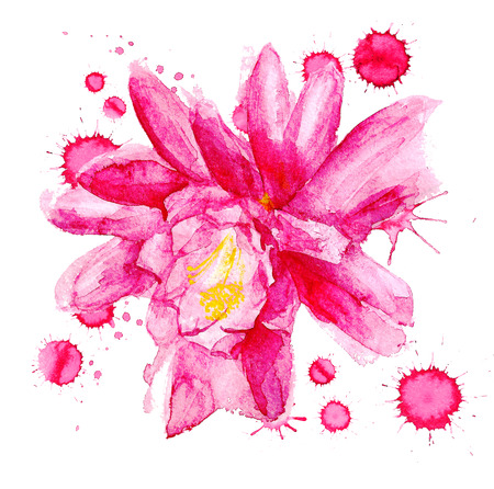 Watercolor image of red flower with paint blots on white background