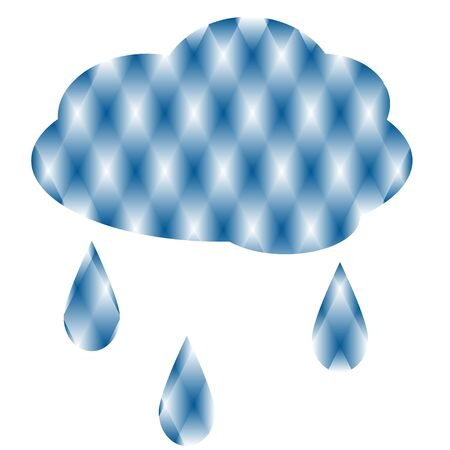 Symbol of cloud with drops of rain on white background. Illustration