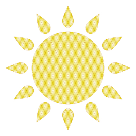 Simple symbol of sun with diamond pattern. Illustration