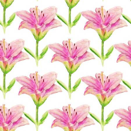 Seamless pattern with watercolor image of pink lily. Good for textile fabric design, wrapping paper and website wallpapers.