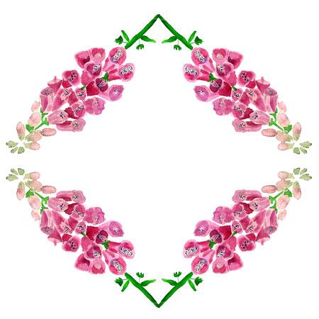 Romantischer Rahmen mit Aquarellbild der Fingerhut. Standard-Bild - 88528866