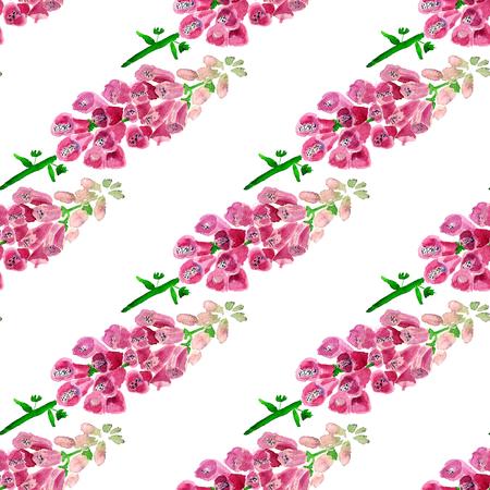 Nahtloses Muster mit Aquarellbild der Fingerhut. Gut für Textildesign, Geschenkpapier und Website-Tapeten. Standard-Bild - 88528867