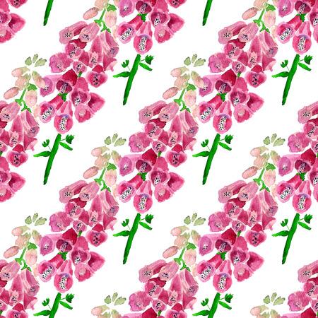 Nahtloses Muster mit Aquarellbild der Fingerhut. Gut für Textildesign, Geschenkpapier und Website-Tapeten. Standard-Bild - 88528868