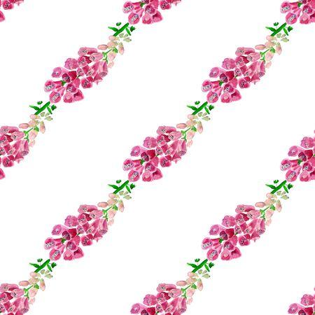 Nahtloses Muster mit Aquarellbild der Fingerhut. Gut für Textildesign, Geschenkpapier und Website-Tapeten. Standard-Bild - 88528872