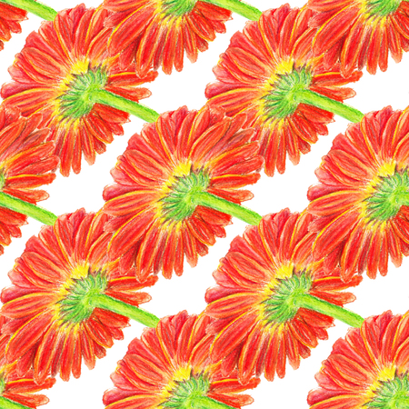 Seamless pattern with watercolor image of marigold flower. Good for textile fabric design, wrapping paper and website wallpapers.