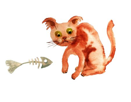 Watercolor cartoon red cat with barebone of fish on white background